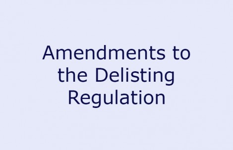 Amendments to the Delisting Regulation