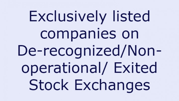 Exclusively listed companies on De-recognized/Non- operational/ Exited Stock Exchanges