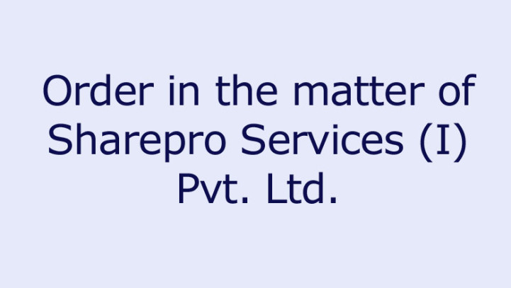 Order in the matter of Sharepro Services (I) Pvt. Ltd.